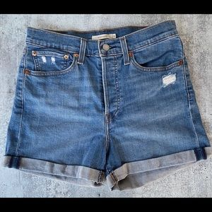 Levis Wedgie Button Fly High Rise Denim Shorts 30